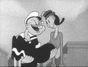 Popeye e Olivia Palito numa cena romântica