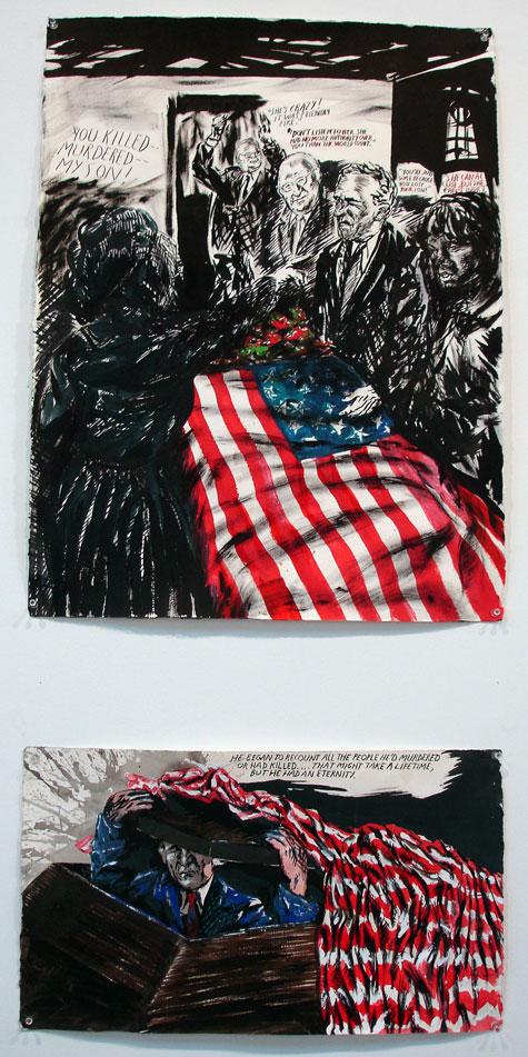 montagem da exposição na galeria Zwirner